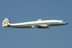 A preserved C-121C Super Constellation, registration N73544, in flight in 2004