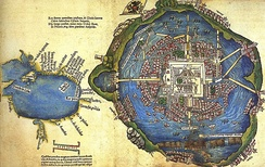 Map of the island city Tenochtitlán and Mexico gulf made by one of Cortés' men, 1524, Newberry Library, Chicago