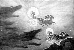 Sól, the Sun, and Máni, the Moon, are chased by the wolves Sköll and Háti in The Wolves Pursuing Sol and Mani by J. C. Dollman (1909)