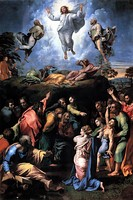 Transfiguration, 1520, unfinished at his death. (Pinacoteca Vaticana)
