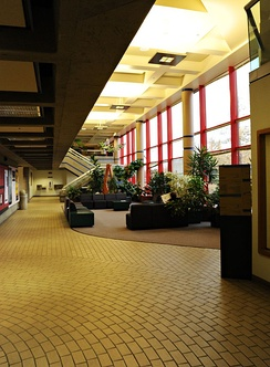 The lobby of the Arts Building, located on the northeast corner of campus