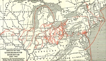 Map of various Underground Railroad routes