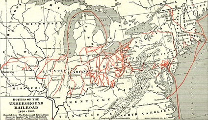 Various routes of the underground railroad aiding the escape of slaves to Canada. One branch ran through Woodford County.