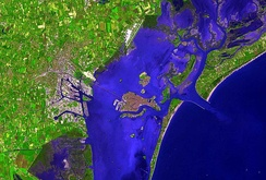Venice and surroundings in false colour, from Terra. The picture is oriented with North at the top.