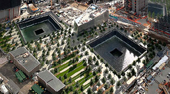 The National September 11 Memorial. The reflecting pools are on the site of the Twin Towers.
