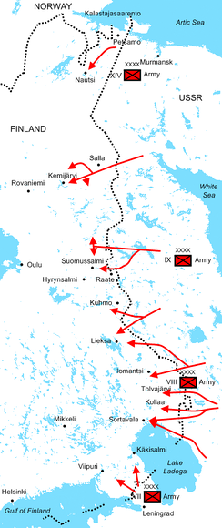 Diagram of Soviet offensives at the start of the war illustrating the positions of the four Soviet armies and their attack routes. The Red Army invaded dozens of kilometres deep into Finland along the 1,340-kilometre border during the first month of the war.