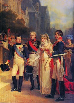 Napoleon, Alexander, Queen Louise, and Frederick William III of Prussia in Tilsit, 1807