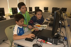 Participants at a robotics camp for children at Monterrey Institute of Technology and Higher Education, Mexico City.
