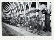 A factory machinery exposition in Torino, set in 1898, during the period of early industrialization, National Exhibition of Torino, 1898
