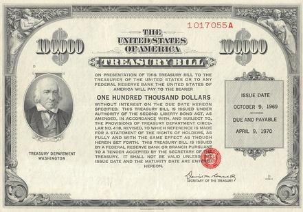 1969 $100,000 Treasury Bill