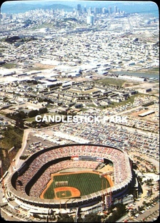 Candlestick Park was located about six miles (9.7 km) south of downtown, pictured here in 1985