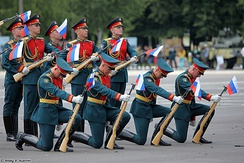 Personnel of the 154th Preobrazhensky Independent Commandant's Regiment during an exhibition drill.
