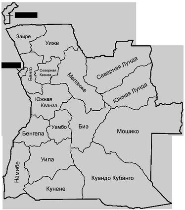 Административная карта Анголы