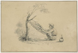 An illustration of a Baduy man playing a calung by Jannes Theodorus Bik, c. 1816–1846.
