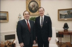 Engler with President George H. W. Bush in 1991