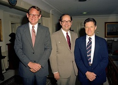 Lt. Governor Castle (left) with Governor Dick Thornburgh of Pennsylvania (center) and Secretary of Defense Caspar Weinberger, July 1982.