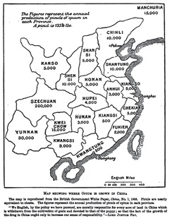 "Map showing the amount of opium produced in China in 1908: The quote ""We English, by the policy we have pursued, are morally responsible for every acre of land in China which is withdrawn from the cultivation of grain and devoted to that of the poppy; so that the fact of the growth of the drug in China ought only to increase our sense of responsibility."" is by Lord Justice Fry."