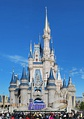 At Cinderella Castle in Walt Disney World's Magic Kingdom, the scale once again gets smaller the higher one goes, making it seem significantly taller than its actual height of 189 feet (57.607 meters).