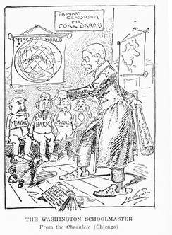 """The Washington Schoolmaster,"" An editorial cartoon about the Coal strike of 1902, by Charles Lederer"