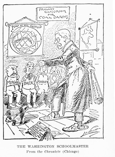 Cartoonist admires the strict TR who teaches the childish coal barons a lesson; they raised the pay rates for minors, but did not recognize the union. By Charles Lederer