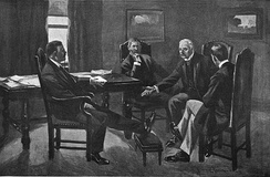 Theodore Roosevelt and J.P. Morgan have a meeting where they agree on a resolution for the strike.