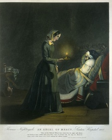 The founder of modern nursing Florence Nightingale tending to a patient in 1855. An icon of Victorian Britain, she is known as The Lady with the Lamp.