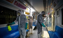 Disinfection of Tehran Metro trains against coronavirus. Similar measures have also been taken in other countries.[610]