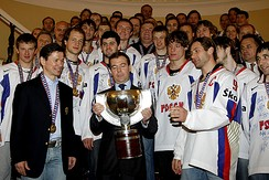 Dmitry Medvedev with the Russia men's national ice hockey team