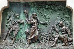 Bronze relief on the statue of Ivan Gundulić in Dubrovnik, showing a scene from the ninth canto where Sunčanica is taken to the Sultan's harem