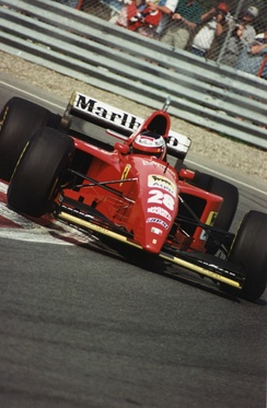 Berger driving a Ferrari at Montreal in 1995