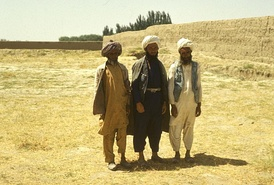 Men wearing traditional Afghan (Pashtun) dress in Faryab Province