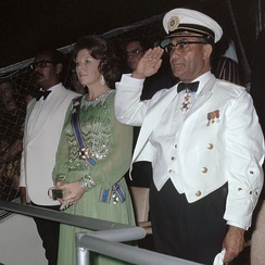 Henck Arron, Beatrix and Johan Ferrier on 25 November 1975