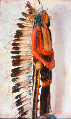 Painting of Holds The Enemy, a Crow warrior with split horn headdress and beaded wool leggings by E.A Burbank
