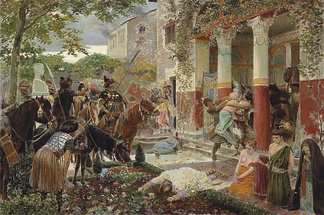 Roman villa in Gaul sacked by the hordes of Attila the Hun