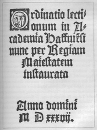 The oldest surviving Danish lecture plan dated 1537 from the University of Copenhagen