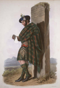 """Logan"". A Victorian era romanticised depiction of a member of the clan by R. R. McIan, from The Clans of the Scottish Highlands, published in 1845."