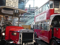 Iconic London buses.