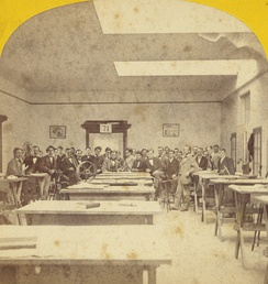 Stereographic card showing an MIT mechanical drafting studio, 19th century (photo by E.L. Allen, left/right inverted)