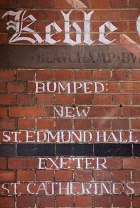 Bumps results of the boat club on a wall in Keble