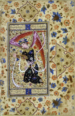 Depiction of an angel in Shia miniature (Persia, 1555)