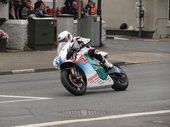 Bruce Anstey on the Team Mugen Shinden San at Parliament Square, Ramsey in 2014