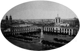 The Pyramid in the middle of the Plaza de la Victoria (1867). The old arcade is visible.
