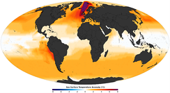 Mid-Pliocene reconstructed annual sea surface temperature anomaly