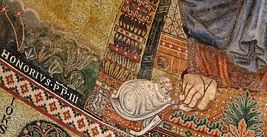 Portrait of Honorius III: detail of the apse mosaic of the Basilica of Saint Paul Outside the Walls (1220) (Rome, Italy)