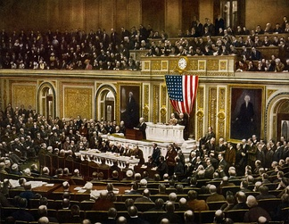 President Woodrow Wilson asking Congress to declare war on Germany on April 2, 1917.