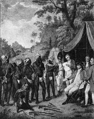 Depiction of the 1773 treaty negotiations between the British and the Black Caribs