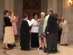 The wedding of a same-sex couple being performed in San Francisco City Hall in June 2008.