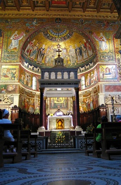 Interior of the basilica of Santa Maria in Trastevere, one of the most beautiful Roman churches built or re-built in the Middle Ages