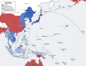 A map of the Japanese advance from 1937 to 1942