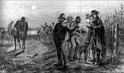 """Slave patrols, the militias of the Second Amendment"". The armed white men inspect the enslaved blacks."